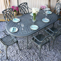 Slate Catherine 210x105cm Oval Cast Aluminium Patio Set