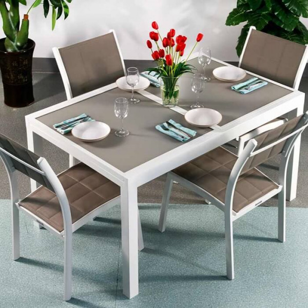 Daisy Table - White & Champagne (4 seater set)