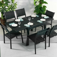 Ruby Table - Black (6 seater set)