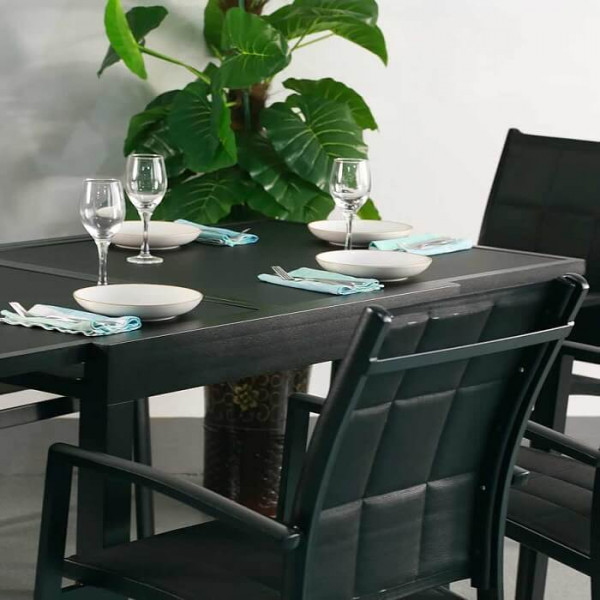 6_Seater_Modern_Black_Metal_Aluminium_Weatherproof_Extending_Outdoor_Garden_Dining_Glass_Top_Table_Set_4