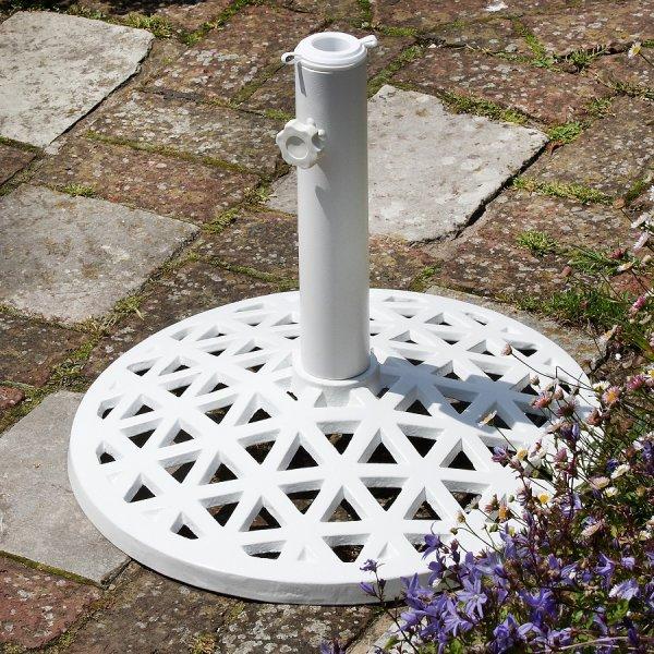 White_Metal_Parasol_Base_Cast_Aluminium_Garden_Furniture_Accessories