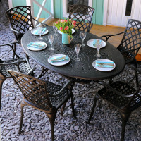 Charlotte Table - Antique Bronze (6 seater set)