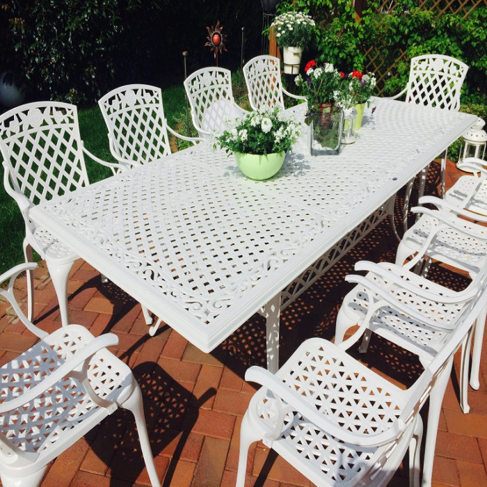 white 10 seater rosemary table
