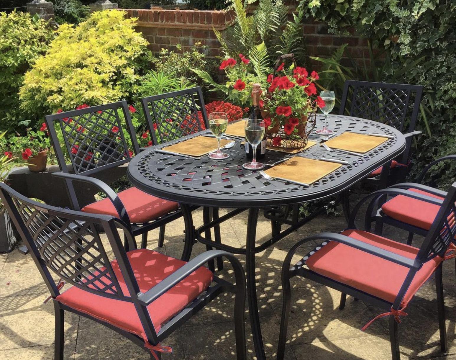 Flowers will always make your garden table pop
