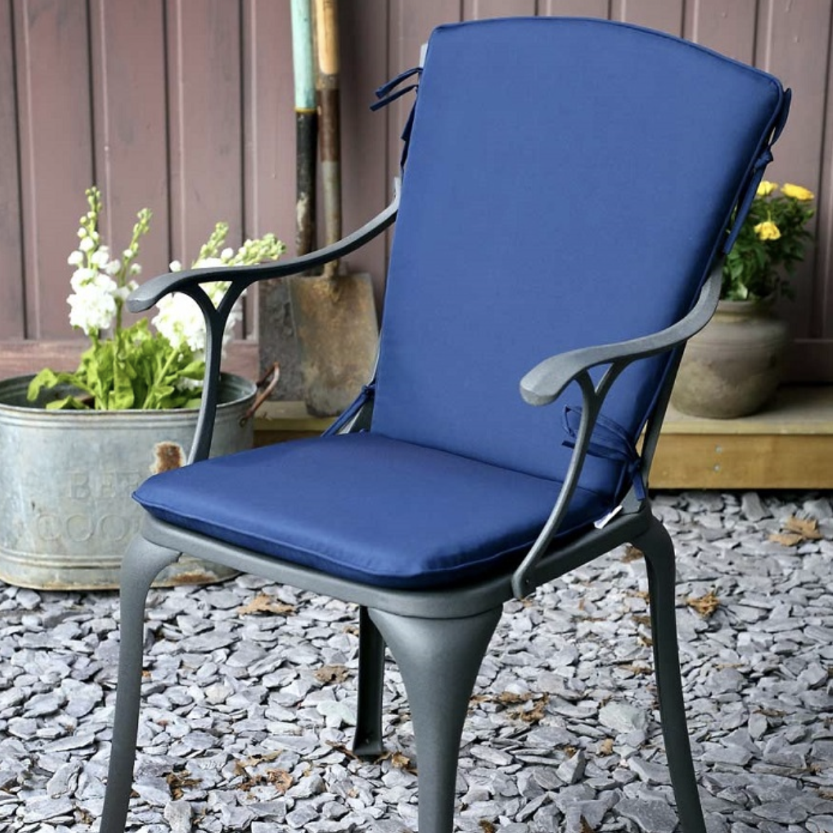 Curved Back Cushion in Blue