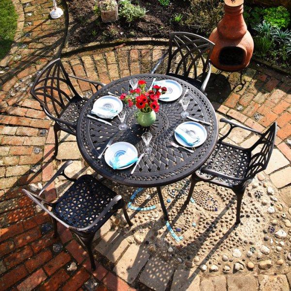 Alice 4 Seater Antique Bronze Garden Or Patio Table Lazy Susan