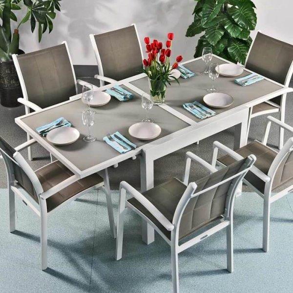 6_Seater_Modern_White_Champagne_Metal_Aluminium_Weatherproof_Extending_Outdoor_Garden_Glass_Top_Dining_Table_Set_1