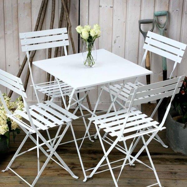 Zara Bistro Set - White (4 seater set)