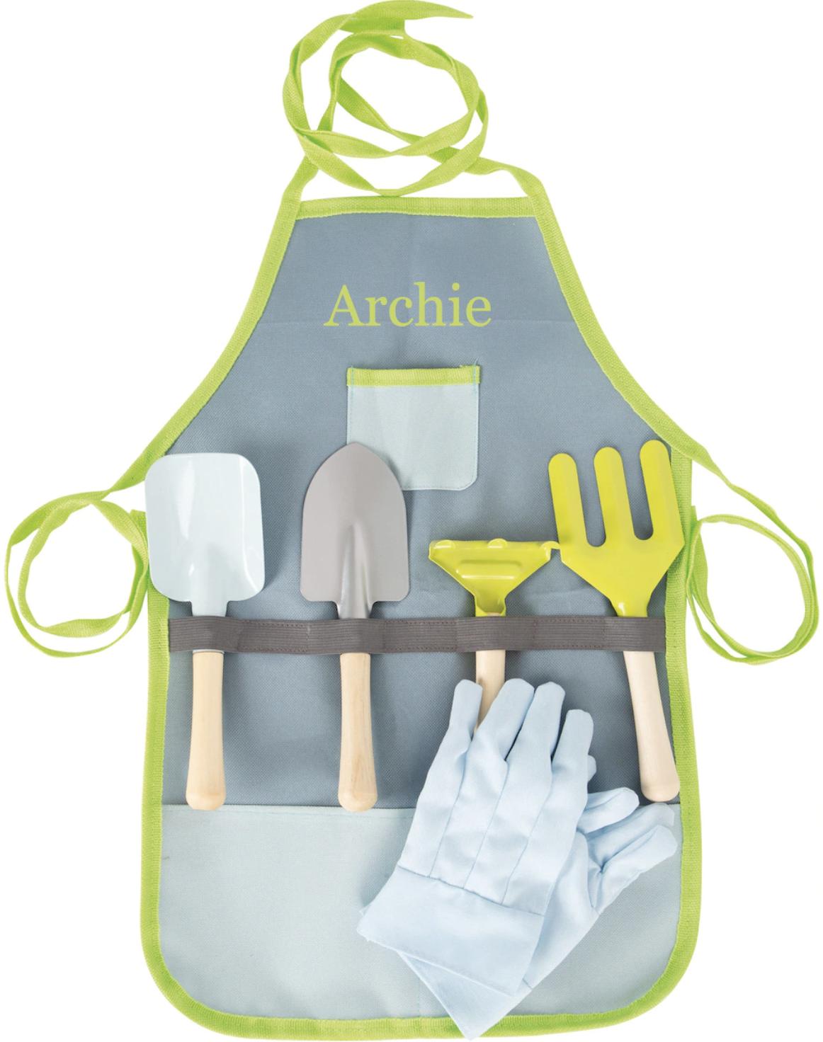 Personalised Kids Gardening Tool Set with Apron