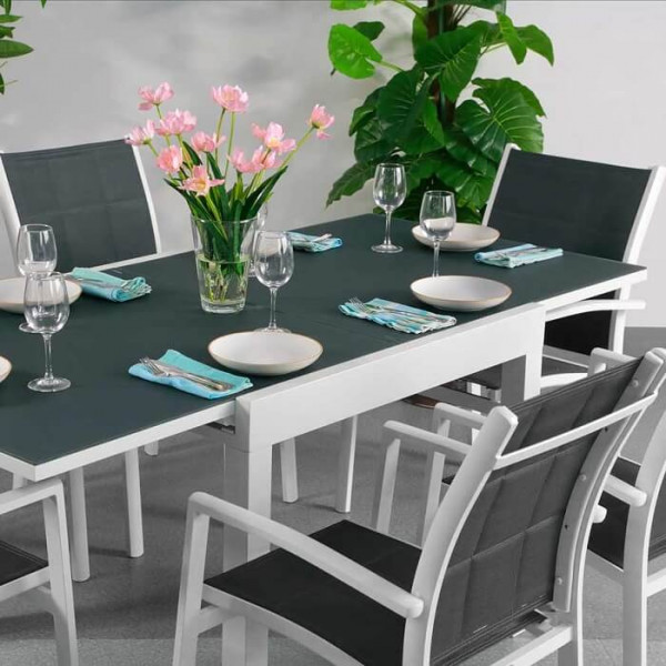 Chloe Table - White & Grey (6 seater set)