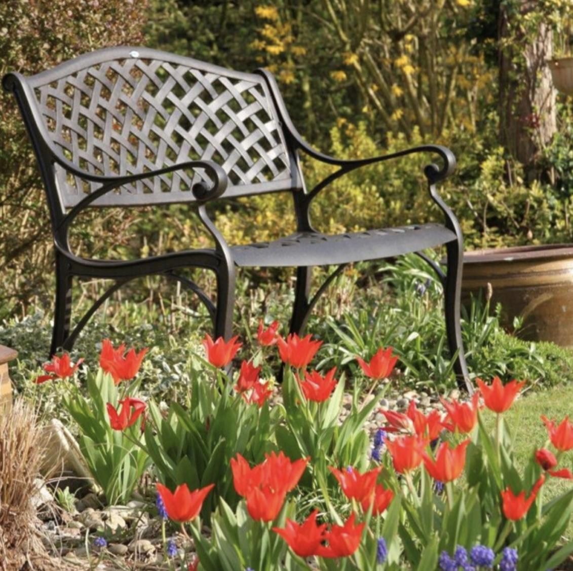 Jasmine Garden Bench in Antique Bronze