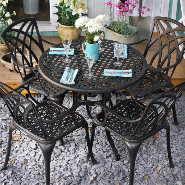 Hannah Table - Antique Bronze (4 seater set)