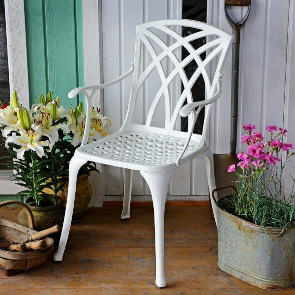 White_April_Self_Assembly_Metal_Garden_Chair 1