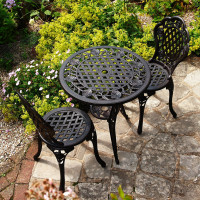 Rose Bistro Set (Table & 2 Chairs) - Antique Bronze