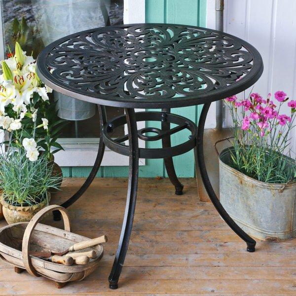 85cm Round Cast Aluminium Patio Table, Cast Aluminium Garden Tables Uk