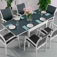 Chloe Table - White & Grey (6 seater set)