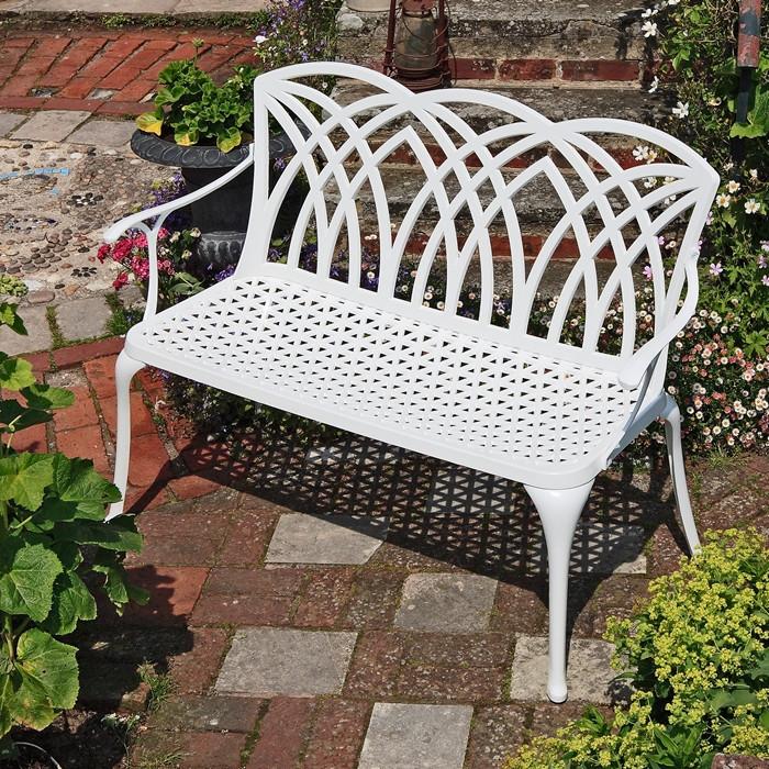 Seater Metal Garden Bench Seat In White, White Cast Aluminum Garden Benches