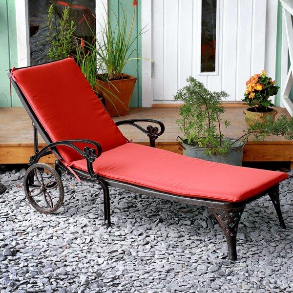 Terracotta garden sunlounger cushion 1