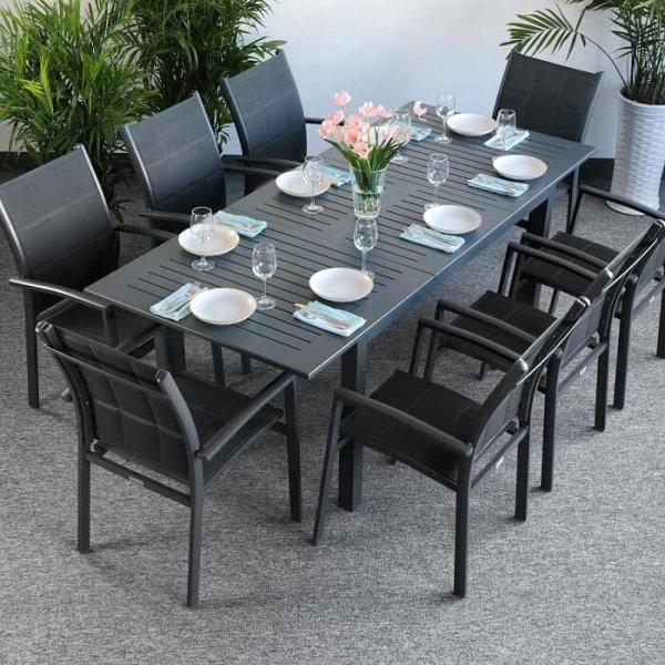 Garden Table Set Virginia Grey 8 Person Aluminium Extending Patio Table Lazy Susan