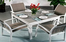 Lazy Susan Chloe - White & Champagne (4 seater set)