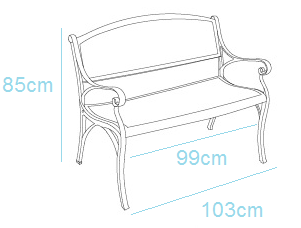 Metal Garden bench dimensions