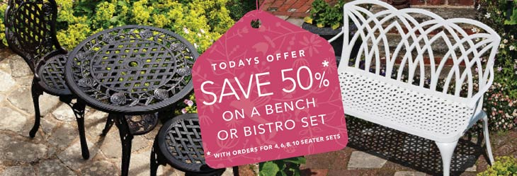 special offer on bench or bistro set