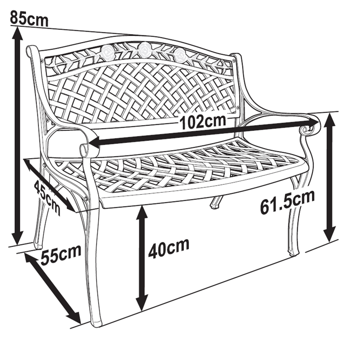 Lazy Susan Rose Garden Bench With 4 Cushion Choices