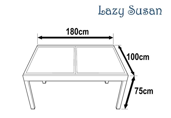 Garden table set florence white grey 6 person aluminium glass e - Dimensions table 6 personnes ...