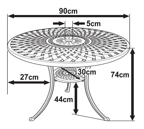 Mia 90cm Round Metal Outdoor Garden, Round Garden Tables Uk